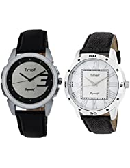 Timelf Combo Of Two Analog Round Dial Casual Men Wrist Watch In Silver Case And Leather Strap