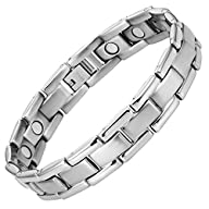 Willis Judd Mens Titanium Magnetic Bracelet In Black Velvet Gift Box + Free Link Removal Tool