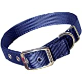 Hamilton Thick Nylon Deluxe Dog Collar, 1-Inch by 24-Inch Double, Navy Blue