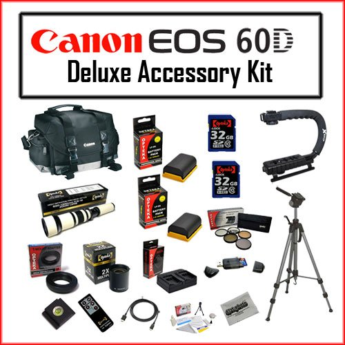 Wildlife Accessory Bundle for Canon EOS 60D Features Canon 200DG Digital Camera Gadget Bag - Black + Opteka 650-1300mm High Definition Telephoto Zoom Lens with Opteka 2X TeleConverter, Two (2) 32GB SDHC Class 10 Memory Card, Opteka 70