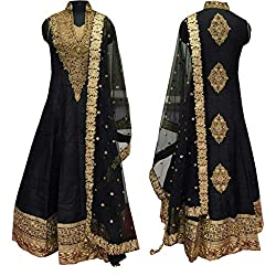Caffoy Cloth Company Womens Black Color Bangalori Silk Designer Embroidered New Arrive Anarkali Salwar Suit For Wedding.
