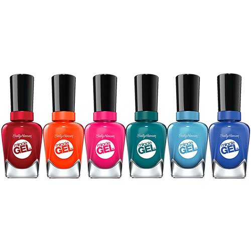 Sally Hansen Miracle Gel, Beatnik, Rhapsody Red, Fish-teal Braid, Tribal Sun, Rhythm & Blue and Tipsy Gypsy Nail Polish Kit with Dimple Bracelet