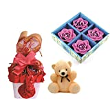 Skylofts Stylish Chocolate Basket With 4pc Diya Set & A Cute Teddy Diwali Combo