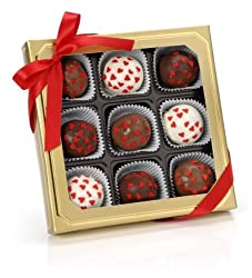 Romantic Hearts Belgian Truffle Cake Bons- Gold Gift Box of 9 (Red Velvet)
