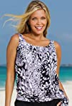 Beach Belle Dew Drops Plus Size Blouson Tankini Top Womens