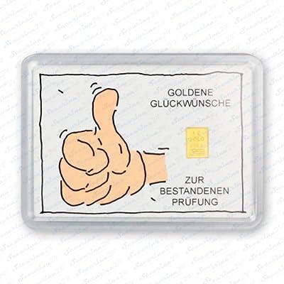 """Goldbarren 1g 1 Gramm Motivbox """" Bestandene Prüfung """" Gold Barren + Zertifikat von Securina24"""