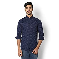 STRAK Mens' Pure Cotton Blue Dotted Designer Boat Curve Style Shirt With Full Sleeve Size:-XL/44