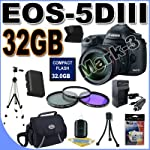 Canon EOS 5D Mark III 22.3 MP Full Frame CMOS Digital SLR Camera with EF 24-105mm f/4 L IS USM Lens With 32GB Accessory Kit !