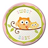 Creative Converting Happi Tree Sweet Baby Girl Round Dessert Plates. 8 Count