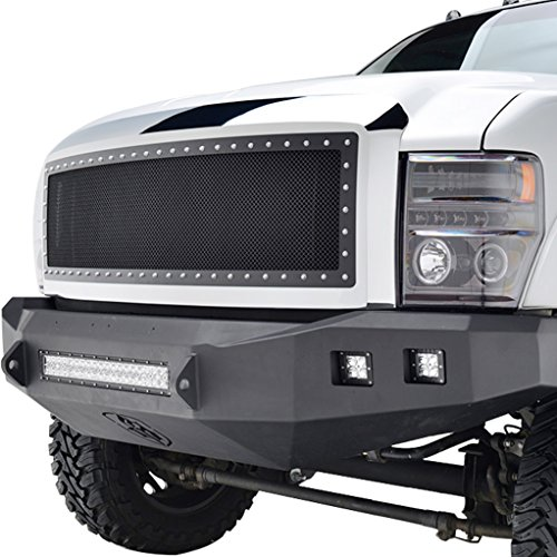 E-Autogrilles 08-10 Ford Super Duty F-250 / F-350 Rivet Black Stainless Steel Wire Mesh Grille Grill with Chrome Shell (46-0303) (08 Ford F250 Super Duty Grill compare prices)