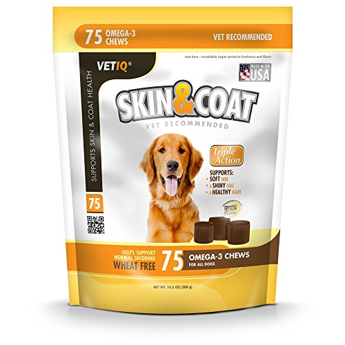 VetIQ Skin & Coat, 75 Soft Chews for Dogs, Chicken Flavor, 10.5 oz (Omega 3 Chews For Dogs compare prices)