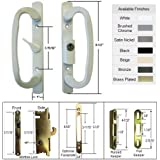 Sliding Glass Patio Door Handle Kit with Mortise Lock and Keepers, A-Position, White, Keyed