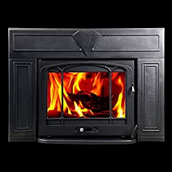 HorseFlame wood burning fireplace insert Matt black