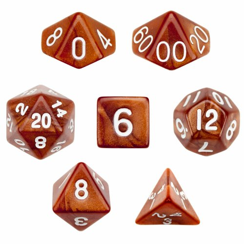 Best Price! 7 Die Polyhedral Dice Set - Copper Sands (Brown Glitter) with Velvet Pouch By Wiz Dice