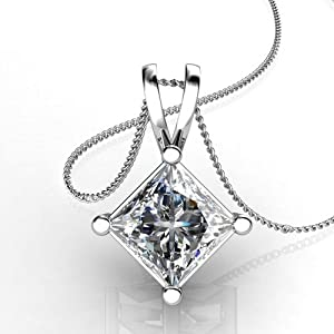 Diamond Impressions DI3005633 Certified .9 Ct. 14k White Gold Princess Cut Diamond Solitaire Pendant F SI3