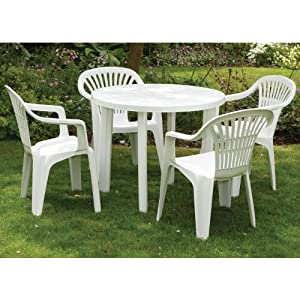 White Plastic Table And 4 Chairs Set Garden Party Outdoor Dining Gatherin