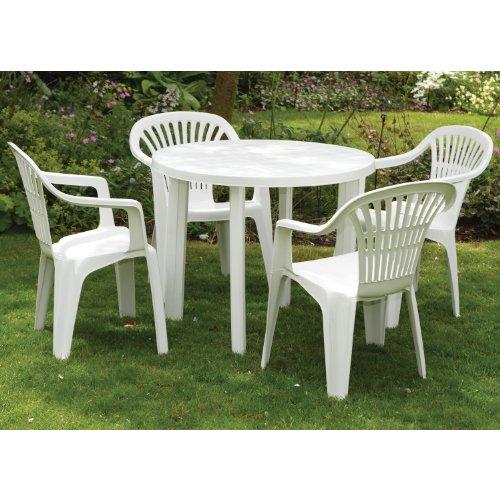 Worldstores gruppo di 4 sedie e tavolo da giardino in plastica - Tavolo da giardino in plastica ...