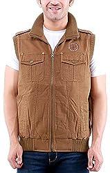 Time Option Men's Cotton Jacket (5010_Khakhi_44)