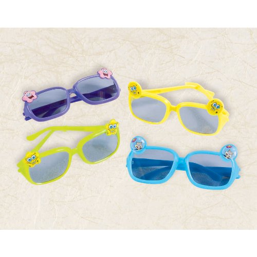 "Amscan Fun SpongeBob Party Glasses, 4-3/4 x 4-3/4"", Green/Dark Blue/Yellow/Light Blue"