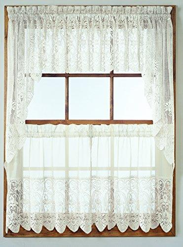 No. 918 Joy-Tier Kitchen Curtain Swag Valance, 60 by 38 inch, White