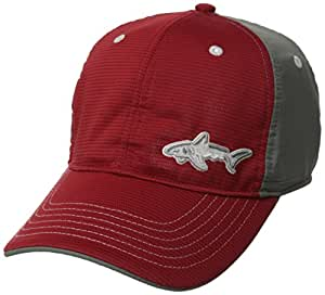 Greg Norman Men's Shark Pattern Performance Cap, Red/Charcoal, One Size