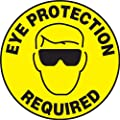 """Accuform Signs MFS200 Slip-Gard Adhesive Vinyl  Round Floor Sign, Legend """"EYE PROTECTION REQUIRED/SE REQUIERE PROTECTOR DE OJOS"""" with Graphic, 17"""" Diameter, Black on Yellow"""