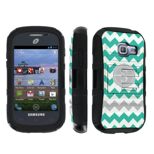 Skinguardz Samsung Galaxy Centura S738C / Discover S730G Combat Tough Hard Case With Holster Kickstand - (Mint Chevron Monogram Initial S) front-1081511