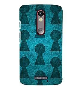 TRANSLUCENT BLUE AND BLACK VINTAGE PATTERN 3D Hard Polycarbonate Designer Back Case Cover for Motorola Moto X Force