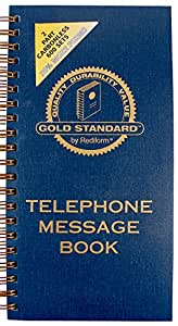 """REDIFORM Gold Standard Telephone Message Book, 2.75 x 5"""" 4 per Page, 600 Messages (50079)"""