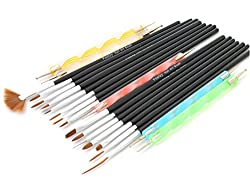 Foolzy 20 pcs Black Nail Art Brush Pen (FOO-NA-A2)