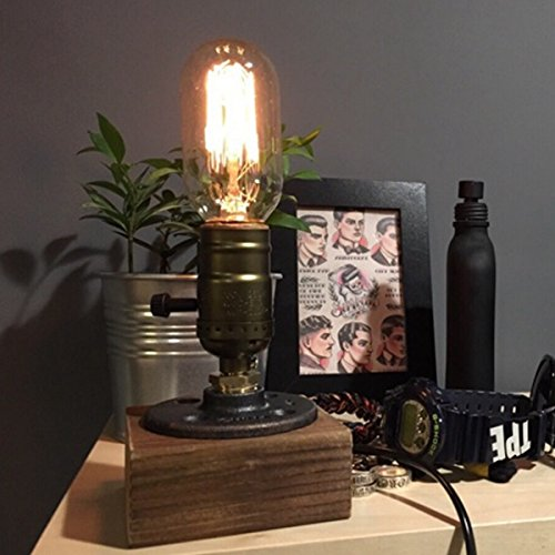 Loft Vintage T45 Edison Bulb Table Lamp Dimmable Water Pipe Light Home Bar Decor 0