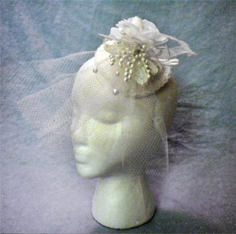 Vintage Style White Crochet Base Wedding Fascinator Hat with Flowers , Beads & Long Veil