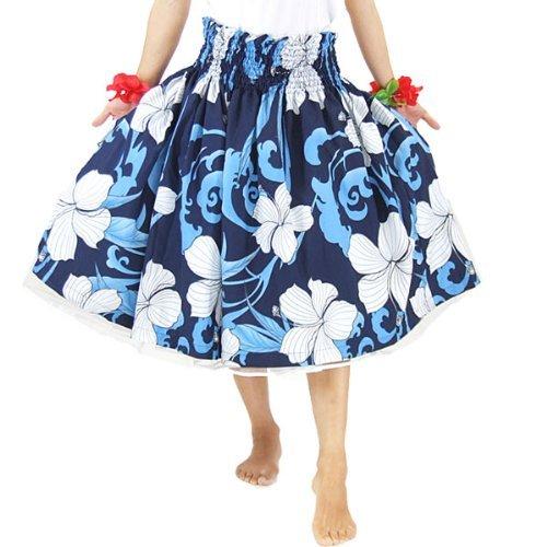 ■JA44145 フラ シングル パウスカート ネイビーブルー×ホワイト 76~78cm丈 |フラダンス 衣装|フラダンス ドレス|フラダンス スカート|フラ ドレス|フラ 衣装|フラダンス パニエ|フラ ハワイ|ムームー|スカ-ト|ダンス衣装|dance