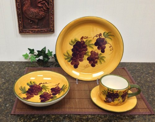 16 Pc Dinnerware Set, Dinner Set Tuscany Grape Wine Decor front-601973