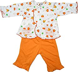 Bubbles Front Open Printed Dress For New Born (3-6 Months) (Orange)