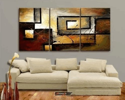 Zartsy 100% Hand Painted Abstract Landscape Yellow Color Block Black Line Artwork Home Wall Decor Art Oil Paintings on Canvas Large Oversized , Unstretch No Frame