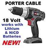Porter Cable PC1801D 18v Ni-cd or lithium-Ion Driil (Bare-tool) (Color: Black Gray Red, Tamaño: full size)