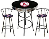 Boston Red Sox Logo Themed 3 Piece Chrome Metal Finish Bar Table Set with 2 Swivel Seat Boston Red Sox Fabric Themed Bar Stools