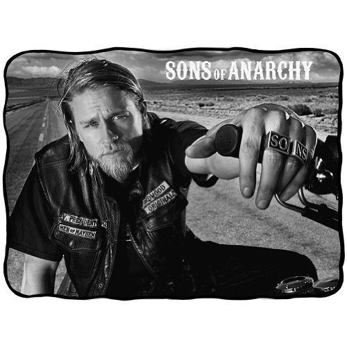 "FX Sons Of Anarchy Charlie Hunnam Jax Bold Graphic Fleece Throw Blanket 45"" x 60"""