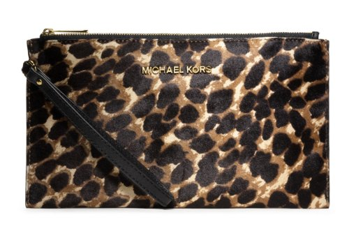 MICHAEL Michael Kors MICHAEL Michael Kors Cheetah Calf Hair Leather Large Jet Set Clutch Bag