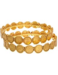 Jewels Galaxy Gold Plated Goddess Laxmi Ginni Bangles