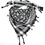 Skull Scarf - Black & White Cotton Skull Scarf for Men and Women - Square skull scarf