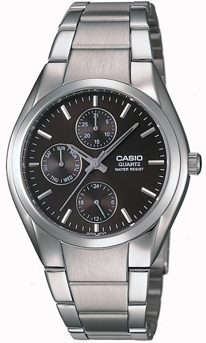 Casio Men's MTP1191A-1A Black Silvertone Analog