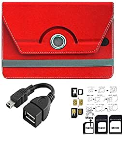 ECellStreet Tablet Flip Cover Universal Diary Folio Case With Stand And 360 Degree Rotation For Micromax Canvas Breeze Tab P660 - Red + Free OTG Connector + Free Sim Adapter Kit