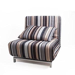 Stripe Fabric Futon Sofa Bed With Sturdy Metal Frame