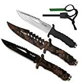 "Yes4All 10.75"" HUNTING SURVIVAL TACTICAL KNIFE BOWIE FIXED BLADE + Nylon Sheath MH-H152 - Special Promotion - Choose between classic or camouflage style"