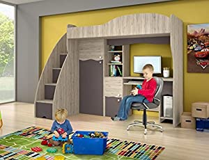 Brand New Kids Children Bedroom Cabin Bunk Bed DREAM with stairs and computer desk in Ash/Brown sold by Arthauss