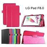 LG G Pad F 8.0 / G Pad II 8.0 Cover Case - Slim Lightweight Standing Custom Fit Cover Case [Fit (V495 /V496) & G Pad 2 8.0 V498] 8-Inch Tablet (rose red)