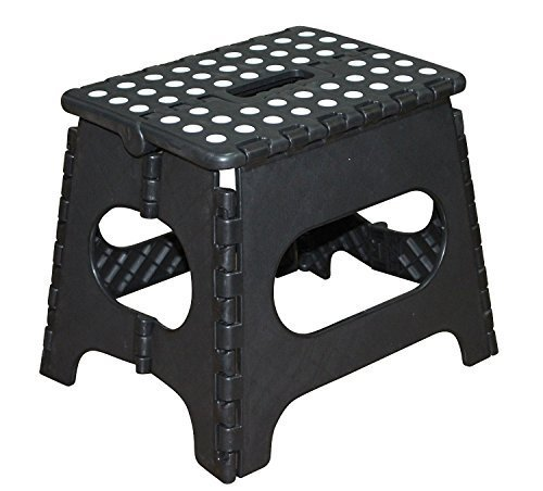 Awardwiki Jeronic 11 Inch Plastic Folding Step Stool Black