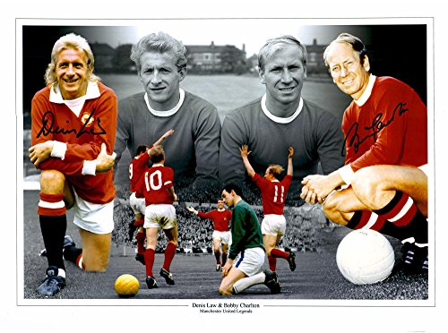 """Denis Law & Sir Bobby Charlton Manchester United Autographed 12"""" x 16"""" Collage Photograph - ICONS - Fanatics Authentic Certified"""